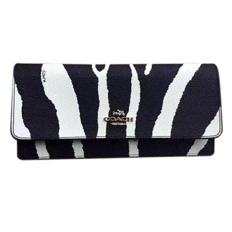 COACH皮夾53736美國FACTORY長夾女包長款錢包搭扣手拿包女士蔻馳錢包時尚