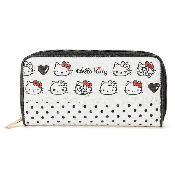 【真愛日本】 16031000023 PU皮革拉鍊長夾-簍空白黑  三麗鷗 Hello Kitty 凱蒂貓 皮夾 長夾 錢包 生活用品
