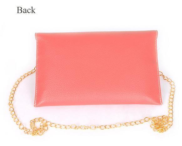 Women Synthetic Leather Golden Chain Envelope Purse Clutch Handbag 5