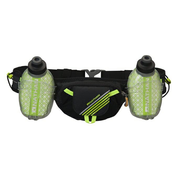 NATHAN - Trail Mix Plus 保冷雙水壺腰包(黑).附二支反光鱷魚夾,可夾環保紙杯及號碼布