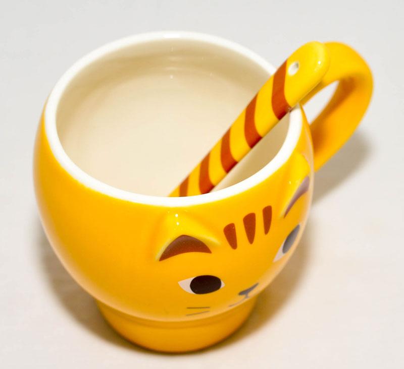 虎貓 陶瓷馬克杯 附肉球貓蹼勺子 日本帶回