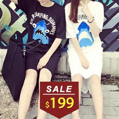 連身裙 字母鯊魚印花長版連身T恤 小豬兒 MiNi Jule ~YCA61046335~
