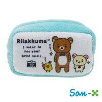 拉拉熊背包/包包/後背包推薦到水藍款【日本進口正版】San-X 拉拉熊 棉質 長型 收納包 零錢包 懶懶熊 Rilakkuma - 430115就在sightme看過來購物城推薦拉拉熊背包/包包/後背包