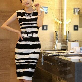 Silvia 席薇亞*無袖橫條紋洋裝連身裙 OL上班族S-XXL黑棕色中大尺碼 (現+預)CLTH00LSBW0044