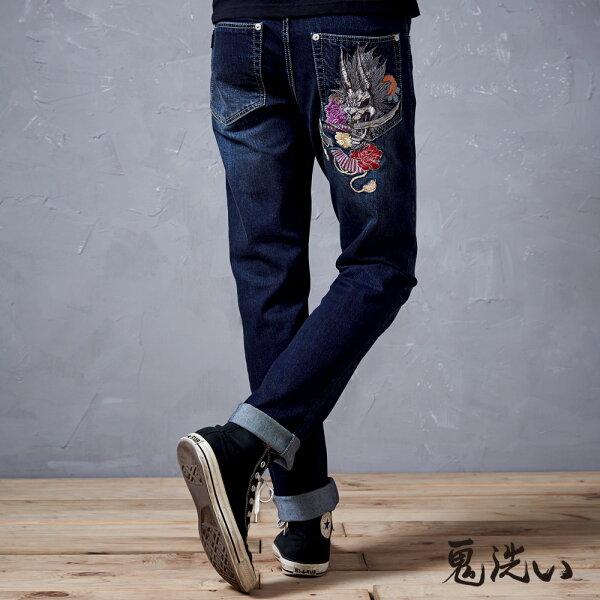 【春夏新品】側45度爆裂鬼彈力中腰直筒褲-BLUEWAYONIARAI鬼洗