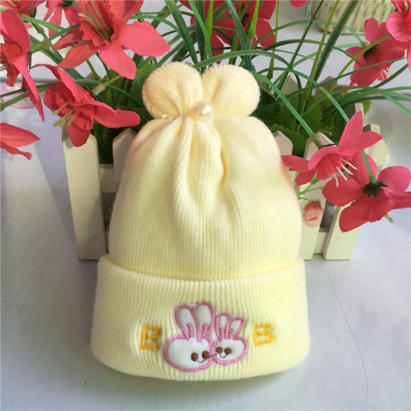 PS Mall 特柔寶寶雙層嬰兒帽新生兒胎帽卡通刺繡童帽初九冬天必備仿羊絨帽【J283】