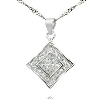 ~925純銀項鍊 鑲鑽吊墜~ 大方四角星型母親節情人節生日 女飾品73dk308~ ~~米