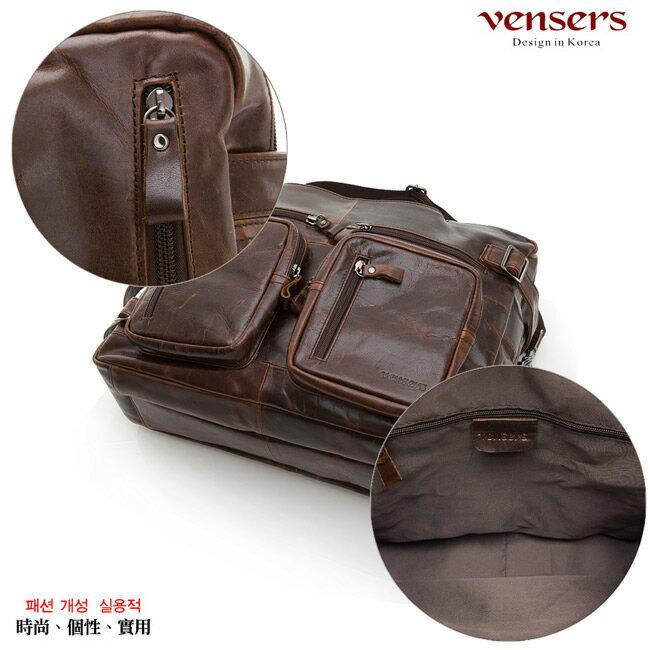 【Vensers】小牛皮潮流個性包~多功能包(NE991101深咖啡) 5