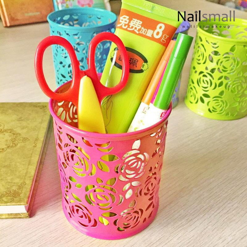 縷空玫瑰金屬筆筒-圓 典雅金屬筆筒 時尚辦公文具