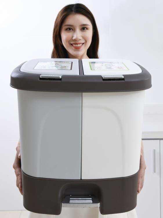 戶外垃圾桶 上海家用分類垃圾桶大號創意腳踏緩降帶蓋干濕分離廚房拉圾桶雙桶【全館免運 限時鉅惠】