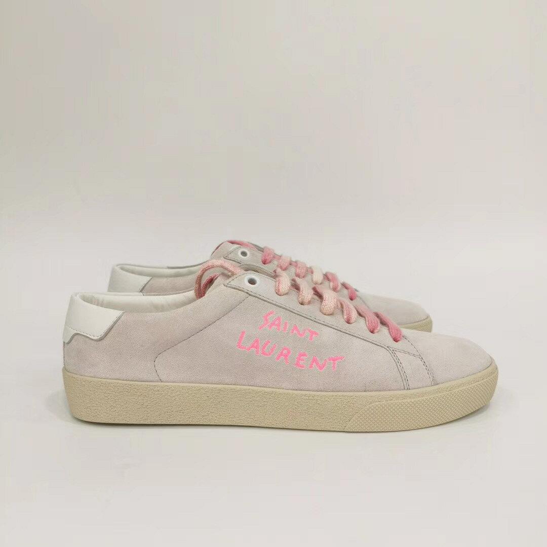 【Chiu189英歐代購】SAINT LAURENT 淺色麂皮 LOGO刺繡 休閒鞋 YSL 粉色