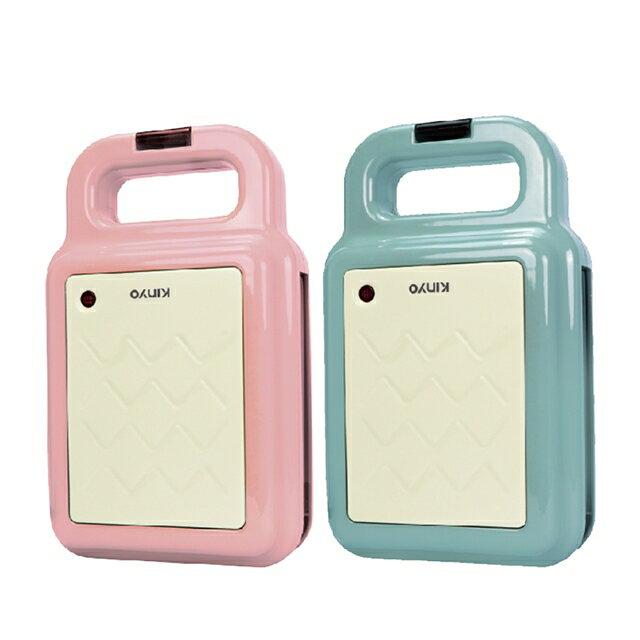 【KINYO】多功能三明治機 / 點心機 / 鬆餅機 (SWM-2378)-粉、藍 (附贈兩種烤盤)
