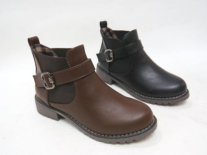 ~校園風金屬扣環低跟短靴15~M918^(棕 黑^)~~彩虹屋~現 預
