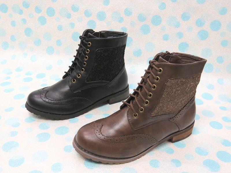 ☆簡約復古風鞋帶低跟牛津短靴11-PL9063(咖/黑)☆【彩虹屋】現+預