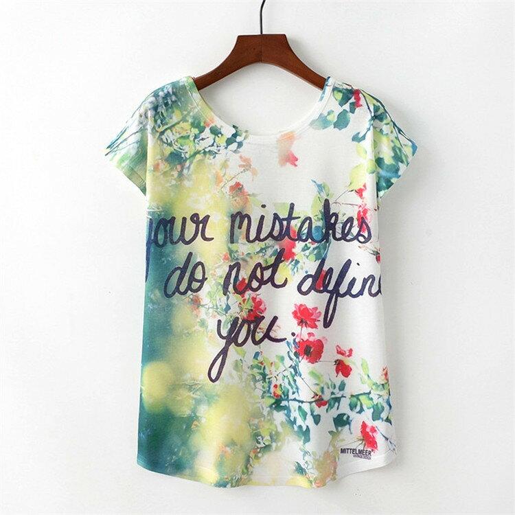 梅梅露~~55182000~繽紛花朵薄棉短袖T恤上衣