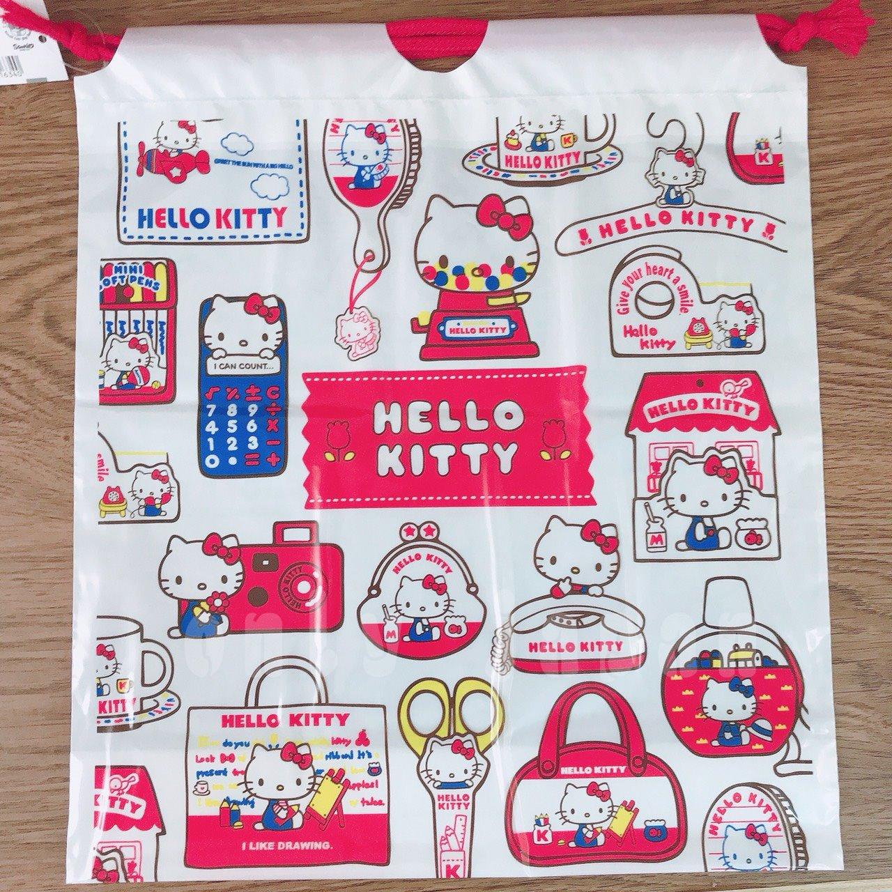 【真愛日本】18032800013 日本製防水PE後背包袋-KT懷舊 三麗鷗 kitty 凱蒂貓 束口袋 防水