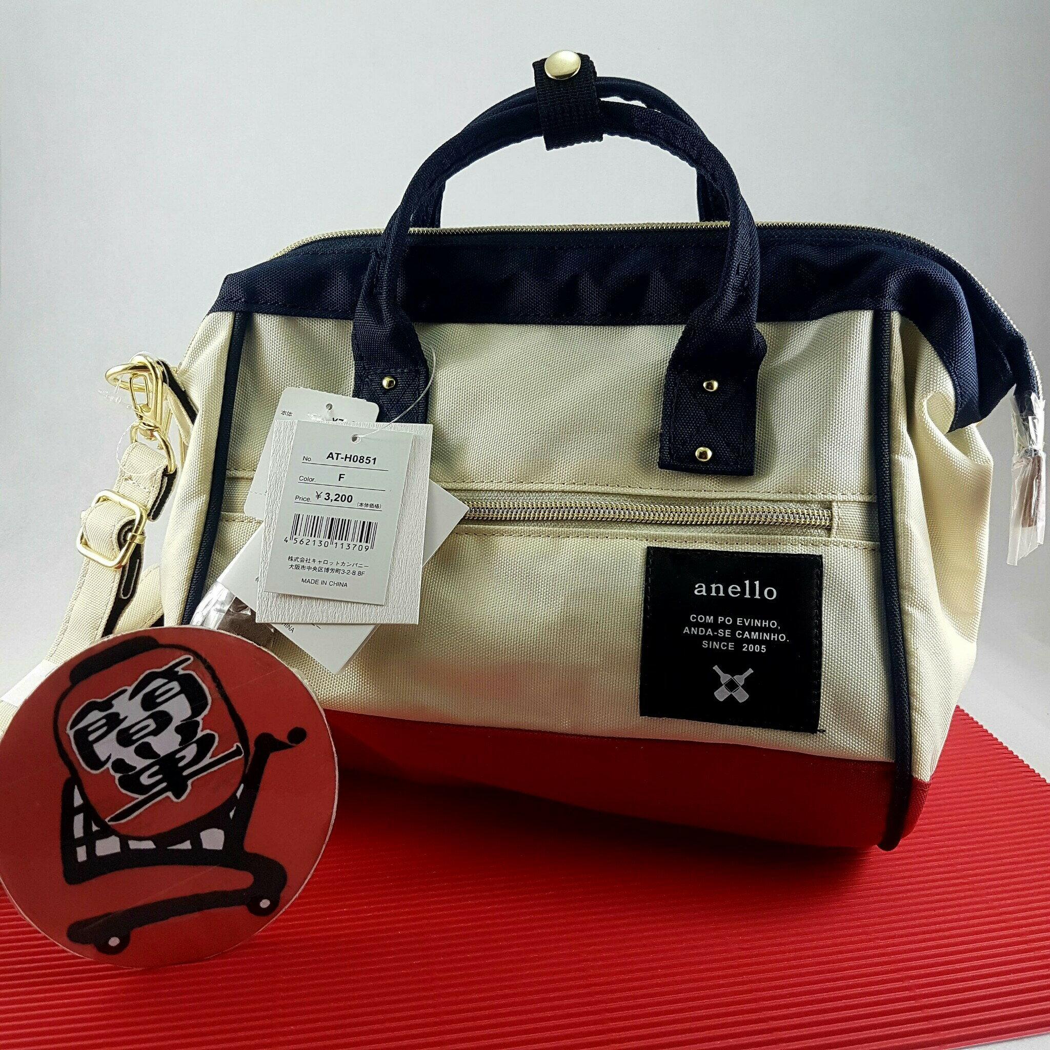 『簡単全球購』小側背-紅白款 anello 新款 側背包、手提包 2WAY 男女通用時尚包 側背包款