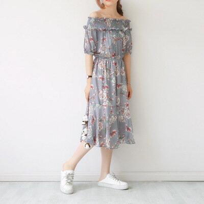 韓系日系女裝鬆緊一字肩印大花魚尾長裙雪紡連身裙樂天時尚館。預購。[全店免運]