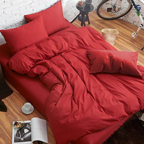 哇哇購:舒柔時尚精梳棉二件式枕套床包組單人大紅哇哇購