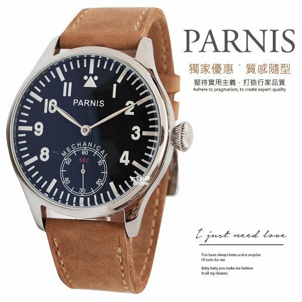 ~完全計時~手錶館│PARNIS 手動上鍊 機械錶PA3117 飛行款 後鏤空 新品 42