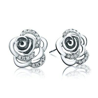 925純銀耳環鑲鑽耳飾~玫瑰花 生日情人節 女飾品2色73dy49~ ~~米蘭 ~