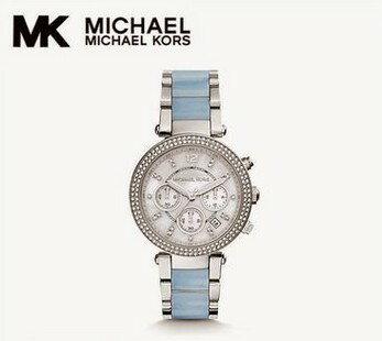 美國Outlet 正品代購 Michael Kors MK 三環 淺藍精鋼 滿鑽 手錶 腕錶 MK6138 0