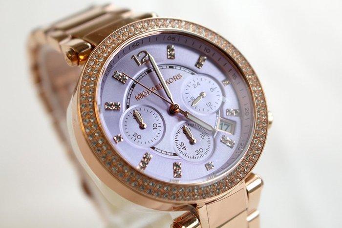 【MICHAEL KORS】正品 玫瑰金 粉紫鑽錶 三眼計時 MK6169 1