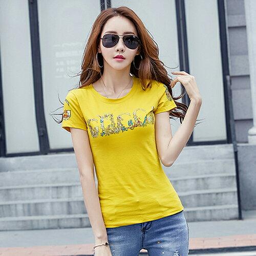 印花燙鑽T恤(3色M~4XL)*ORead*