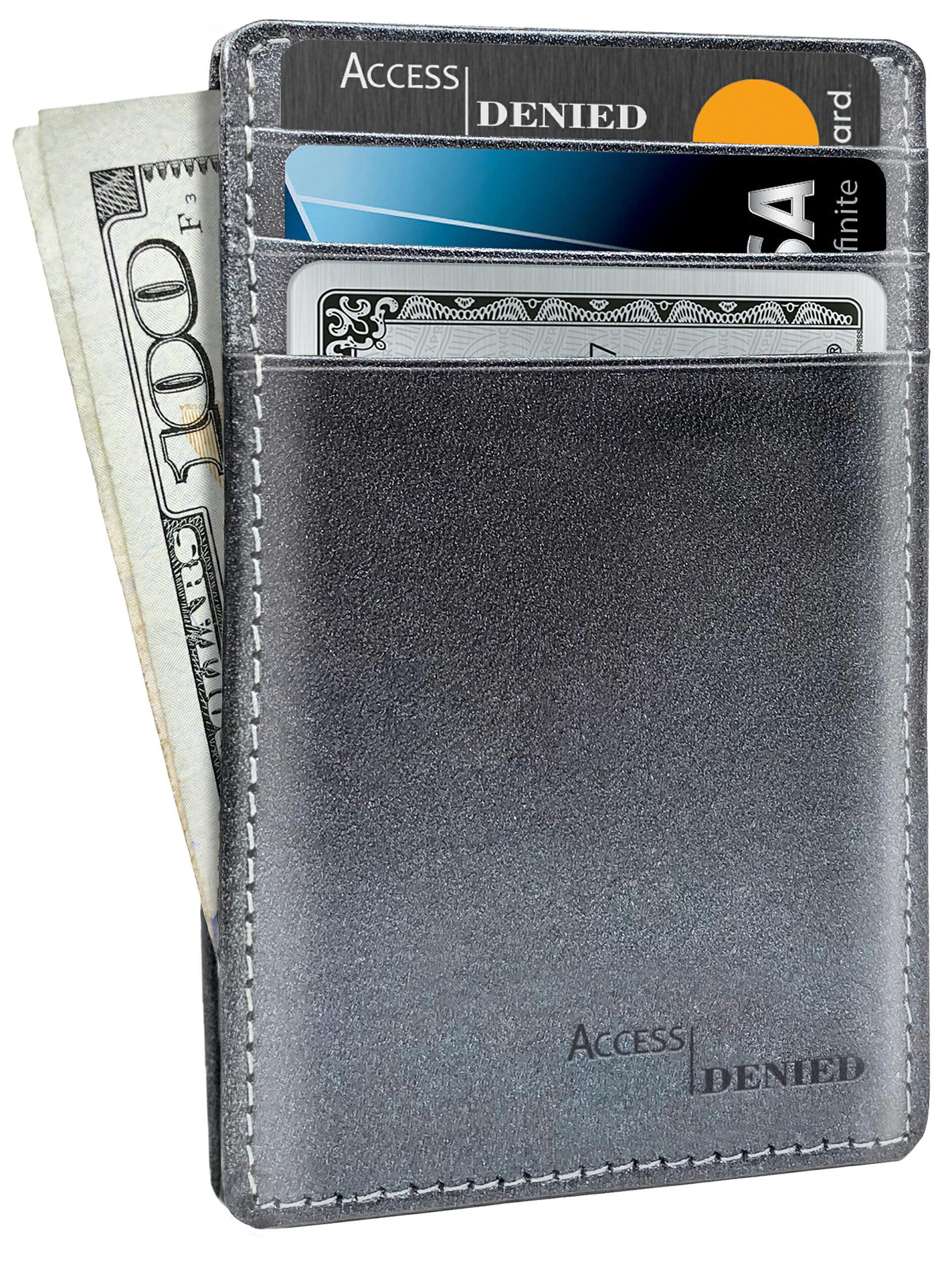 access denied slim minimalist wallets for men front pocket leather credit card holder rfid blocking - Leather Credit Card Holder