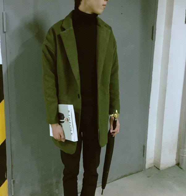 【JP.美日韓】韓國 長版 大衣 立體剪裁 兩色 毛料 風衣 西裝 外套