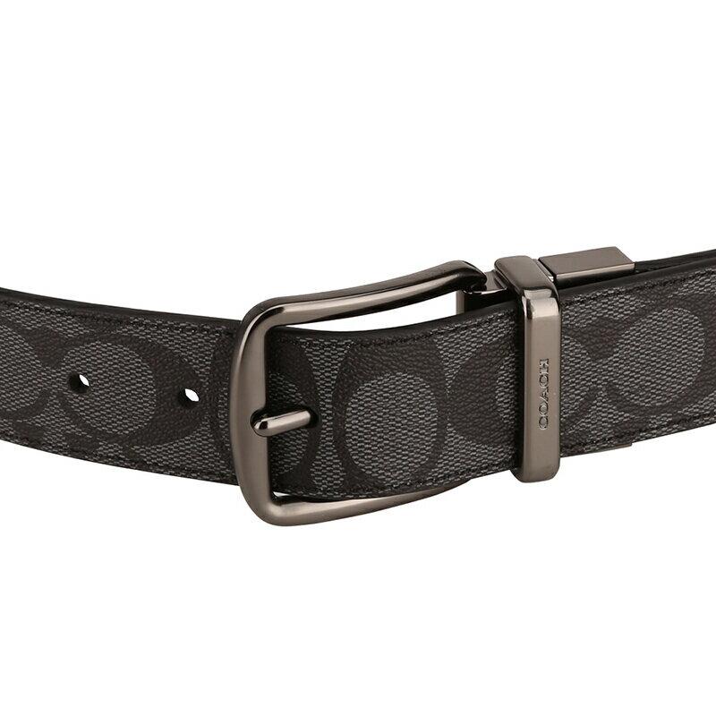 COACH 男士炭灰色PVC腰帶皮帶 F64839 3