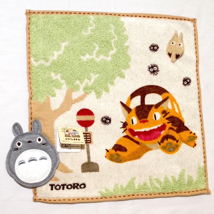 TOTORO 龍貓公車 純棉 立體方巾 毛巾 手帕 日本正版品
