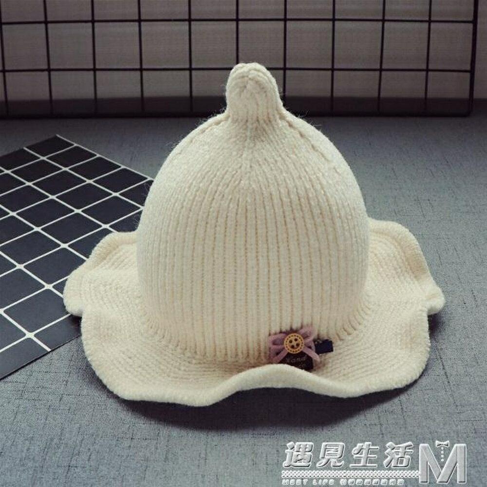 秋冬寶寶兒童毛線帽子新款8個月-3歲韓版1女童花邊盆帽2男童保暖  遇見生活 母親節禮物