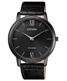 CITIZEN星辰AR1135-10E羅馬紳士風尚光動能超薄腕錶黑面黑錶帶39mm