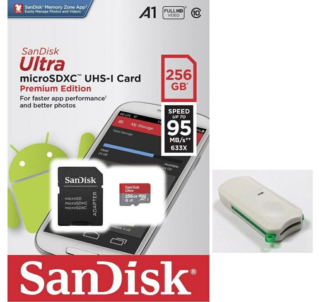 SanDisk Ultra 256GB microSDXC 95MB/s A1 Class10 C10 U1 UHS-I 633X 256G microSD micro SD SDXC Flash Memory Card SDSQUAR-256G + OEM USB 3.0 Card Reader
