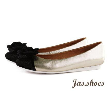 JASSHOES【JB0521】英國進口亮紋布 義大利綿羊皮 漆皮 黑色 山茶花 拼接 撞色 公主鞋 低跟鞋 娃娃鞋 -淺金黑花