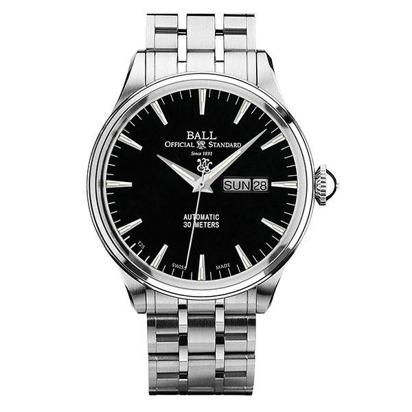 BALL 波爾錶 NM2080D-SJ-BK Trainmaster質感髮絲紋面機械腕錶/黑面40mm