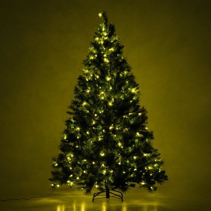 7 pre lit artificial holiday christmas tree with 350 clear led lights and stand - Christmas Tree Led Lights