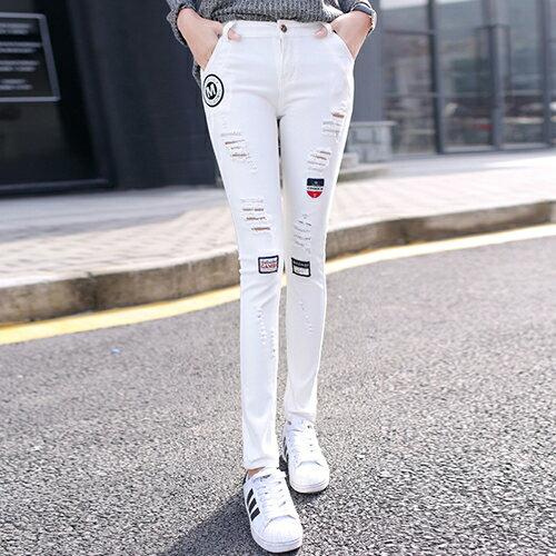 韓版刺繡破洞牛仔褲(白色26-31) 【OREAD】 1
