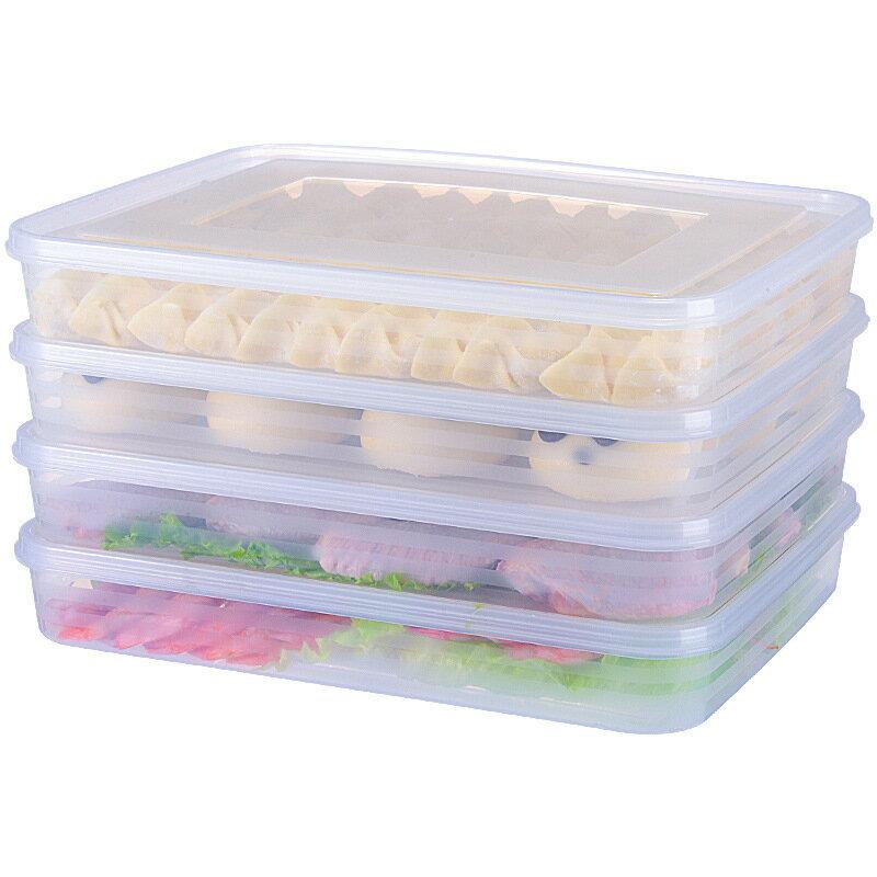 4層4蓋可疊加水餃保鮮盒 4入冷藏冷凍食物收納盒 耐高溫可微波解凍防沾黏底帶蓋保存盒水果盒【ZI0212】《約翰家庭百貨 1