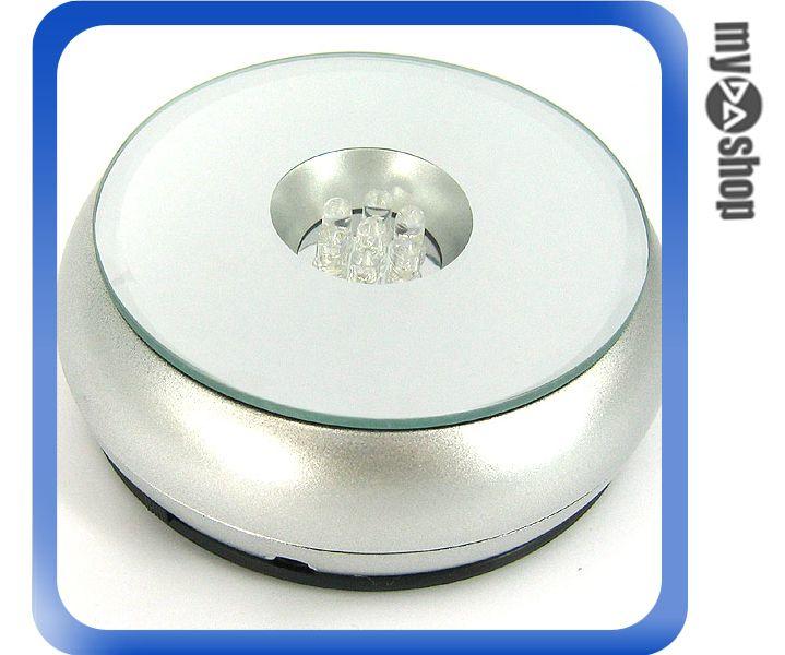 《DA量販店G》七彩LED 鏡面 飾品/首飾/水晶 360度 旋轉展示盤 直徑8.8cm (22-1054)