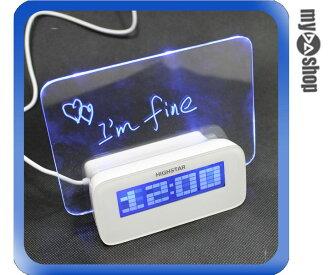 《DA量販店》USB 螢光留言板 數位 電子 鬧鐘 時鐘 溫度計 附4HUB 可三種供電(77-212)