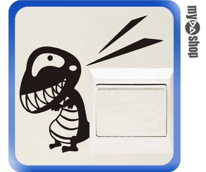 《DA量販店》可愛 恐龍 開關貼 壁貼 窗貼 壁紙 玻璃貼紙 室內 居家 DIY(78-3749)