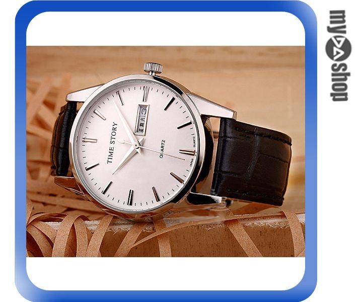 《DA量販店》手錶 石英錶 男士 皮帶 雙日曆 2013新款 男錶 黑帶白盤(79-2221)