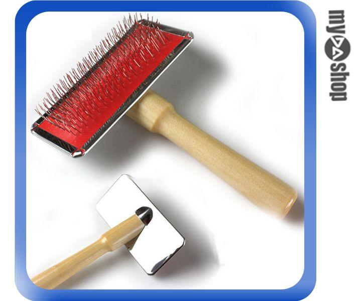 《DA量販店》寵物 狗狗 木柄 氣墊 梳毛 針梳子 L號(79-3242)