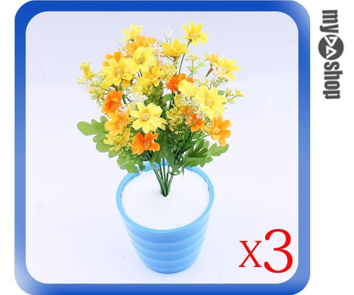 《DA量販店》仿真 塑膠花 假花 造景 裝潢 佈置 多彩 菊花 三入一組(79-3648)