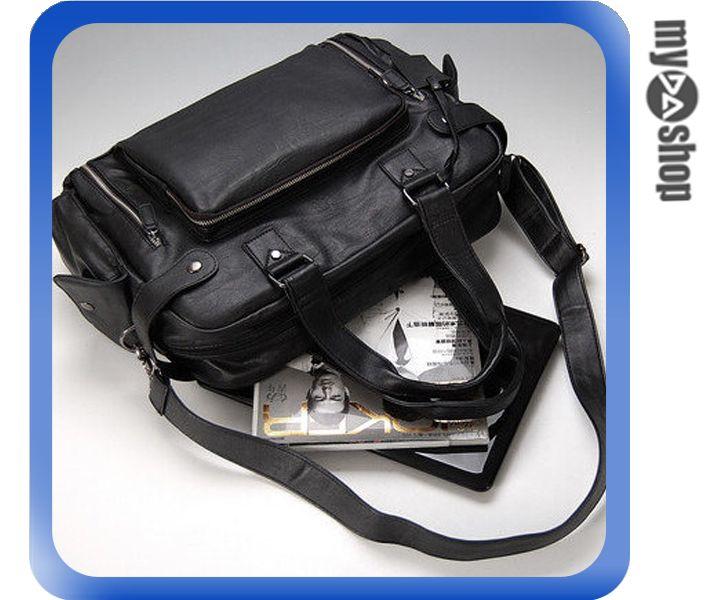 《DA量販店》韓版 時尚 休閒 運動 筆電包 男士 皮革 側背包 黑色(79-4024)