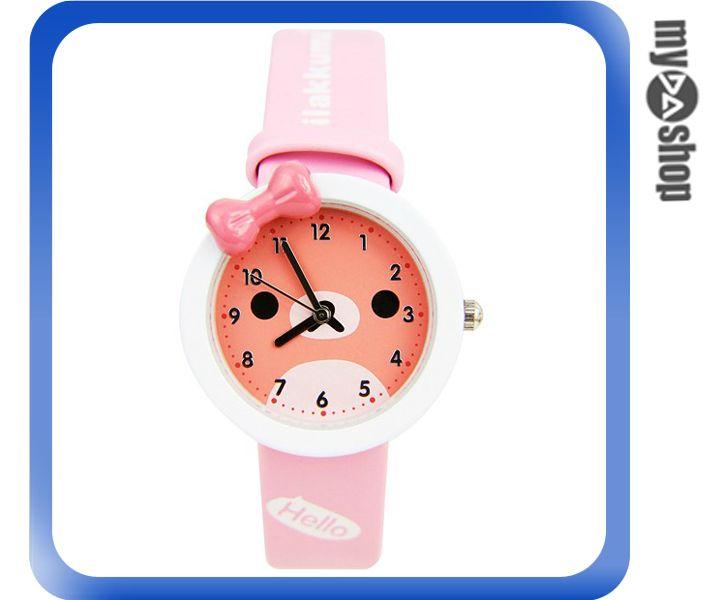 ~DA量販店~兒童 可愛 動物 小熊 蝴蝶結 手錶   粉紅色^(79~4547^)
