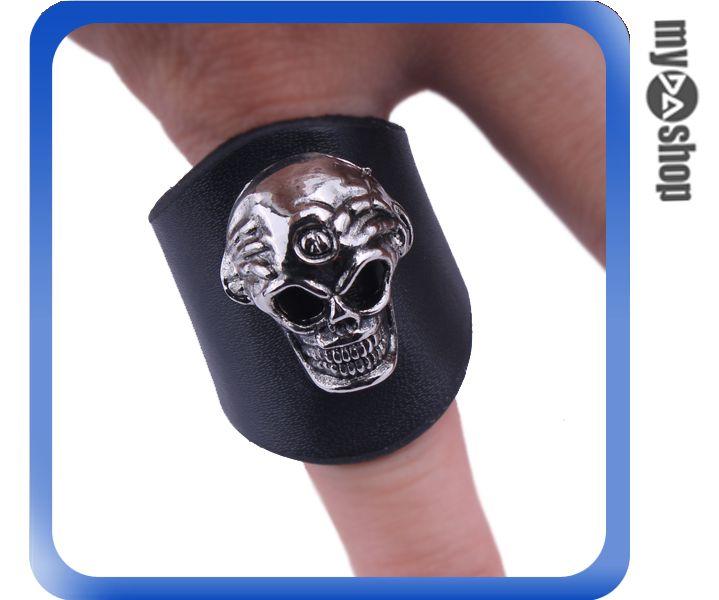 《DA量販店》龐克 個性 戒指 指環 飾品 皮質 皮 骷髏 重機 時尚 配件 指環(79-6408)