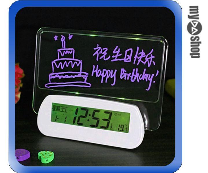 ~DA量販店~聲控 螢光 LED 鬧鐘 時鐘 溫度計 留言板 USB DC 兩用 中文 綠